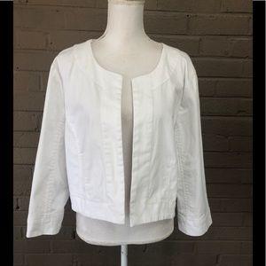 Denim & Co. white open front crop jacket XL